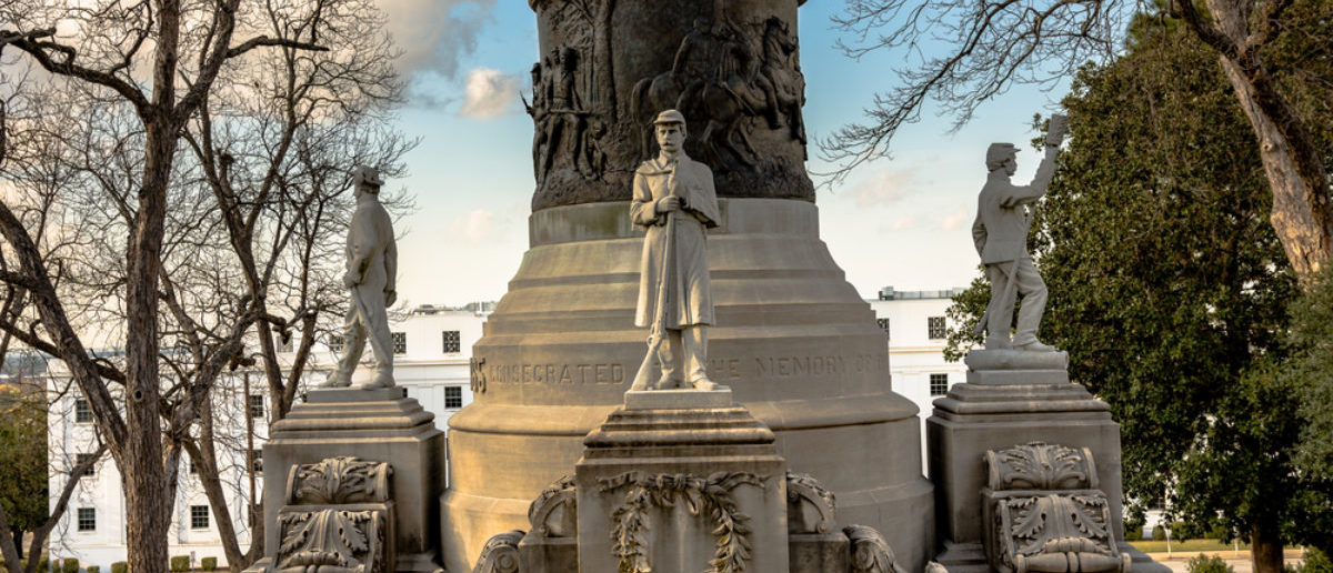 Montgomery, Alabama, USA - March 18, 2017: Alabama Confederate Monument on Capitol Hill in Montgomery, Alabama with statues of confederate soldiers from the four branches of military service. (Shutterstock/JNix)