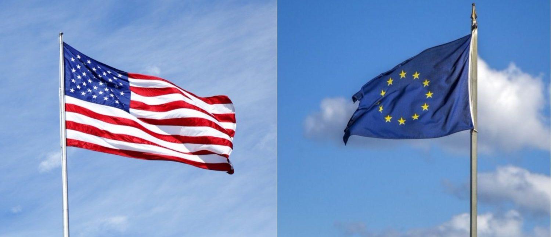 Left: The American flag [Shutterstock - Leonard Zhukovsky] Right: The European Union flag [Shutterstock - Goran Bogicevic]