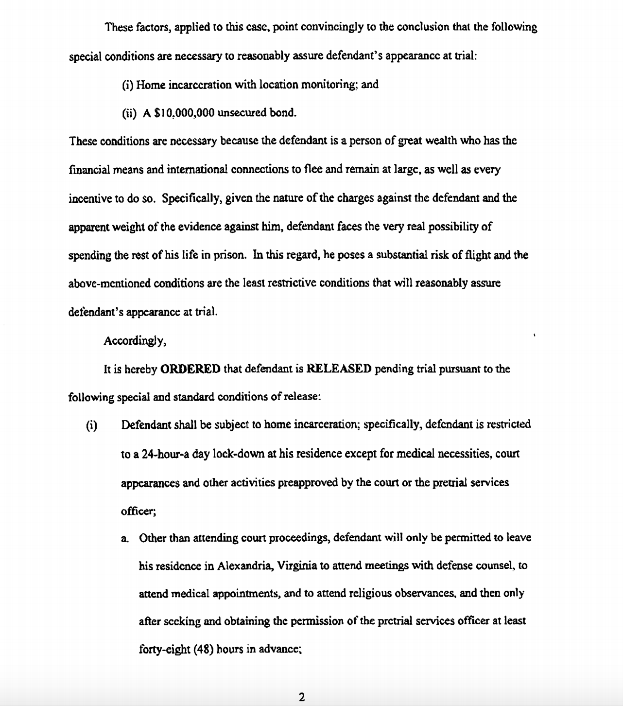 An excerpt from Judge Ellis' bond order in Paul Manafort's criminal case. (Screenshot)