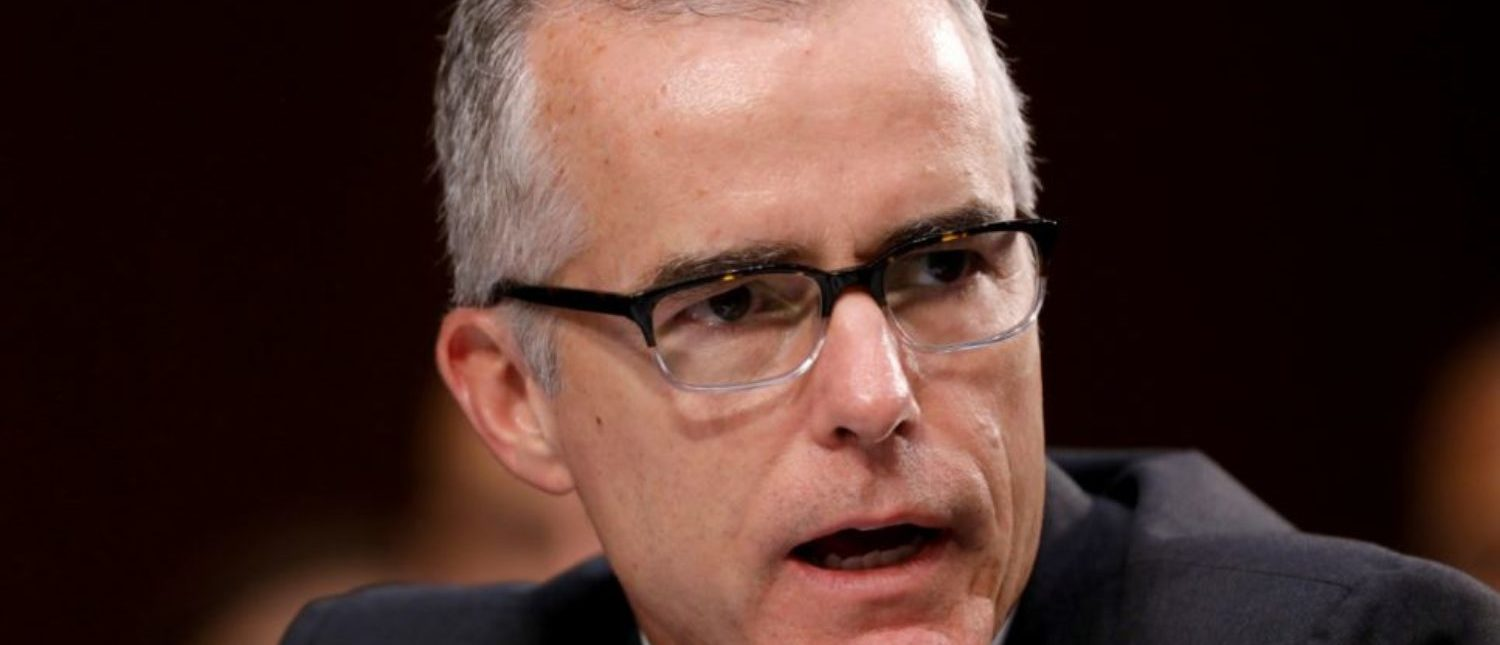FILE PHOTO: Acting FBI Director Andrew McCabe testifies before a Senate Intelligence Committee hearing on Capitol Hill in Washington, DC, U.S., June 7, 2017. REUTERS/Aaron P. Bernstein/File Photo