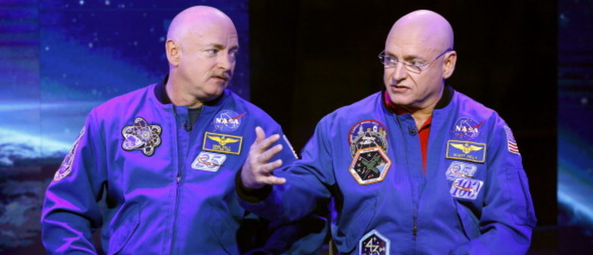 """TODAY -- Pictured: (l-r) Mark Kelly and Scott Kelly appear on NBC News' """"Today"""" show -- (Photo by: Peter Kramer/NBC/NBC NewsWire via Getty Images)"""