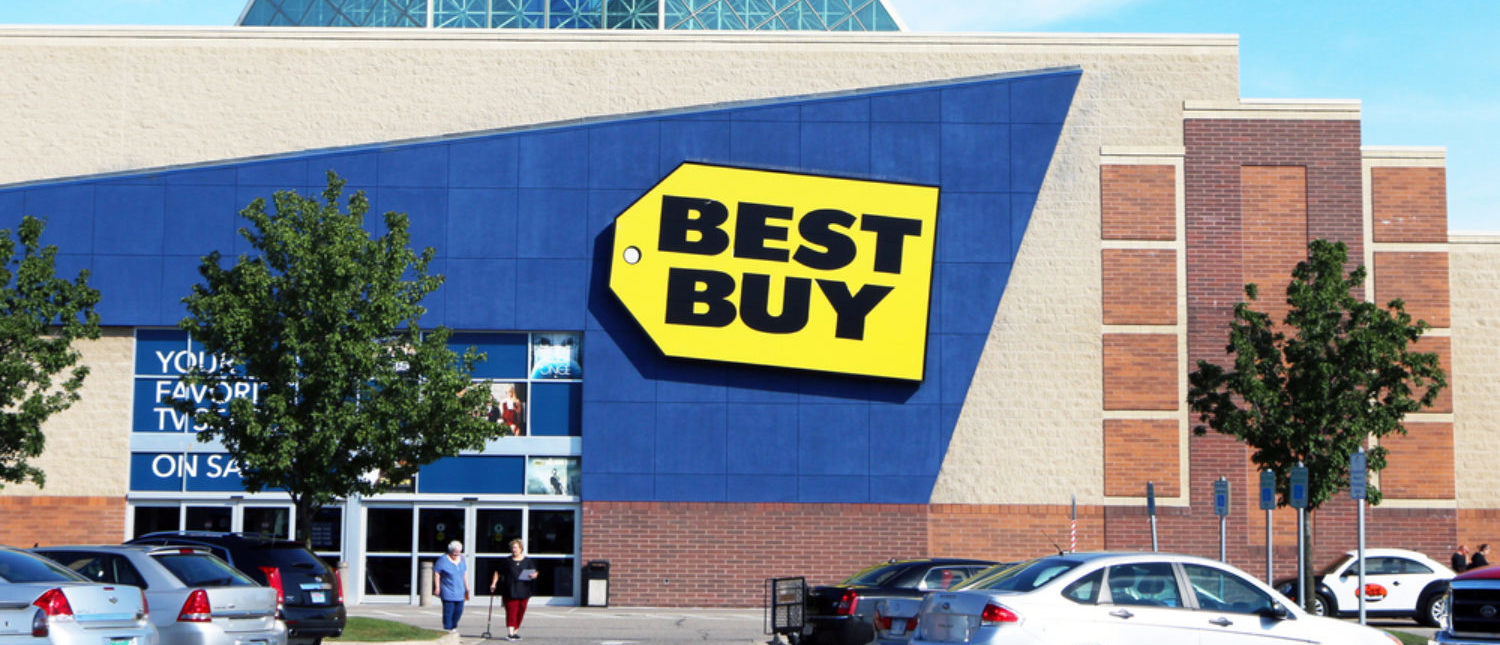Customers leaving a Best Buy store in a Detroit suburb. [Shutterstock - James R. Martin]