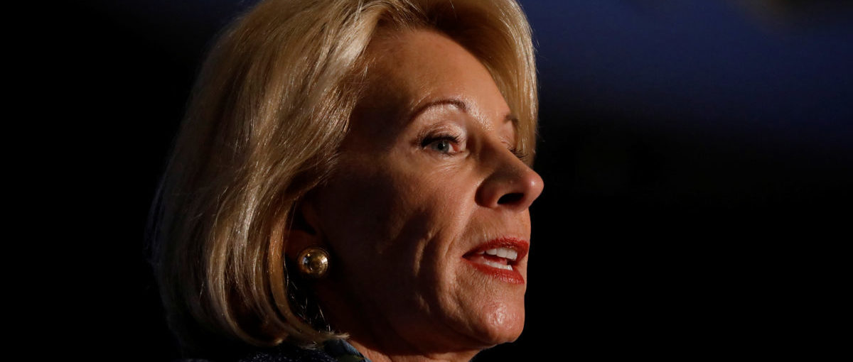 Secretary of Education Betsy DeVos delivers remarks about administration efforts to increase school safety at The National Parent-Teacher Association Legislative Conference in Arlington, VA, March 13, 2018. REUTERS/Aaron P. Bernstein | Congress Denies School Choice Funding