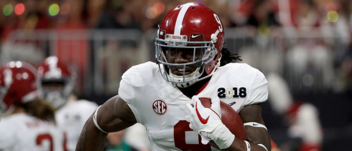 ATLANTA, GA - JANUARY 08: Bo Scarbrough #9 of the Alabama Crimson Tide warms up prior to the game against the Georgia Bulldogs in the CFP National Championship presented by AT&T at Mercedes-Benz Stadium on January 8, 2018 in Atlanta, Georgia. (Photo by Mike Ehrmann/Getty Images)