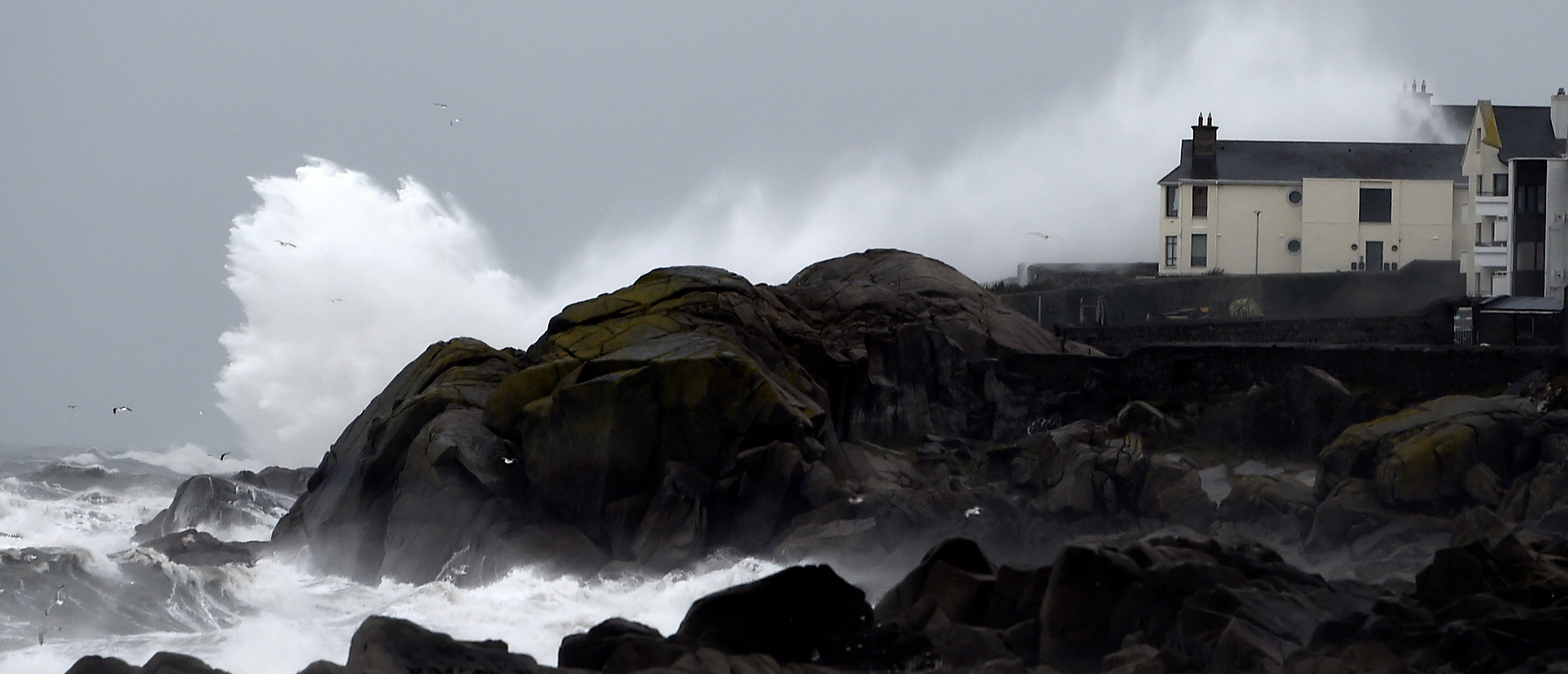 Huge waves break over Dalkey harbour as Storm Emma makes landfall in Dublin, Ireland March 1, 2018. REUTERS/Clodagh Kilcoyne