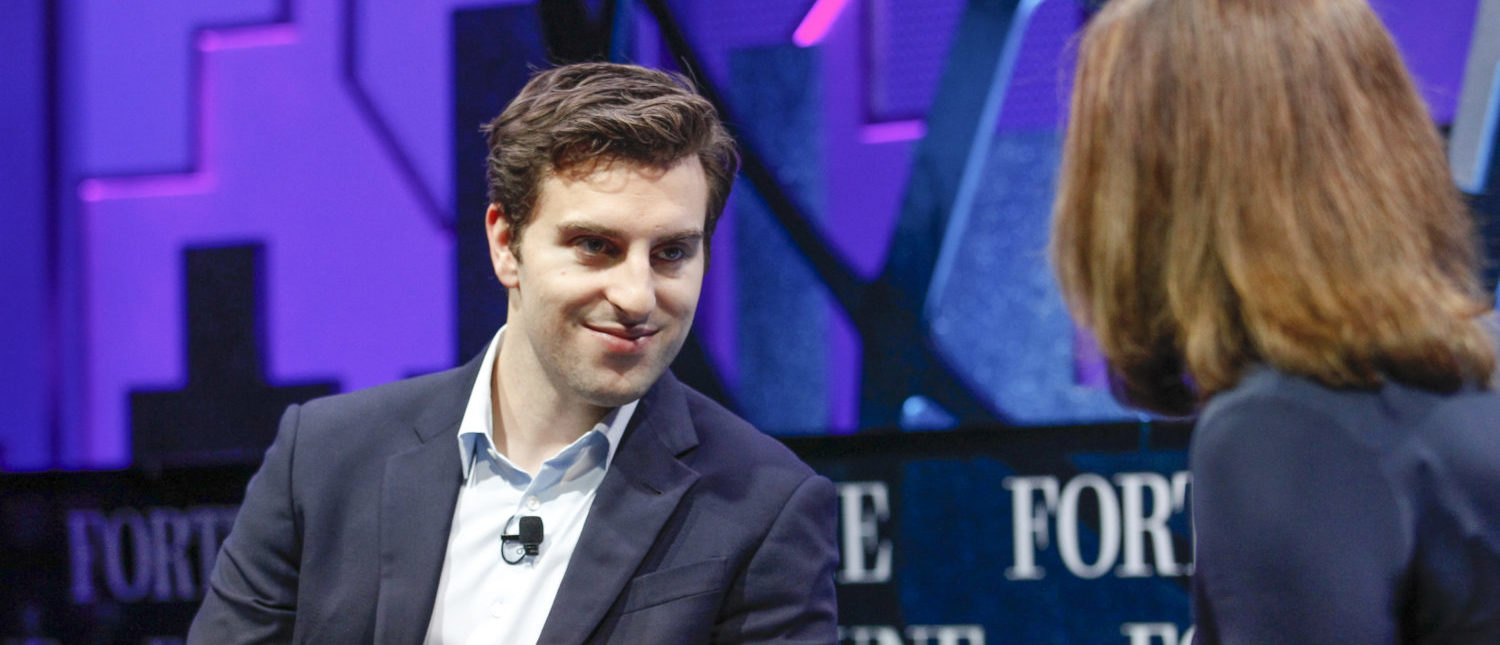 SAN FRANCISCO, CA - NOVEMBER 04: Brian Chesky and Leigh Gallagher speak during the Fortune Global Forum - Day 3 at the Fairmont Hotel on November 4, 2015 in San Francisco, California. (Photo by Kimberly White/Getty Images for Fortune)