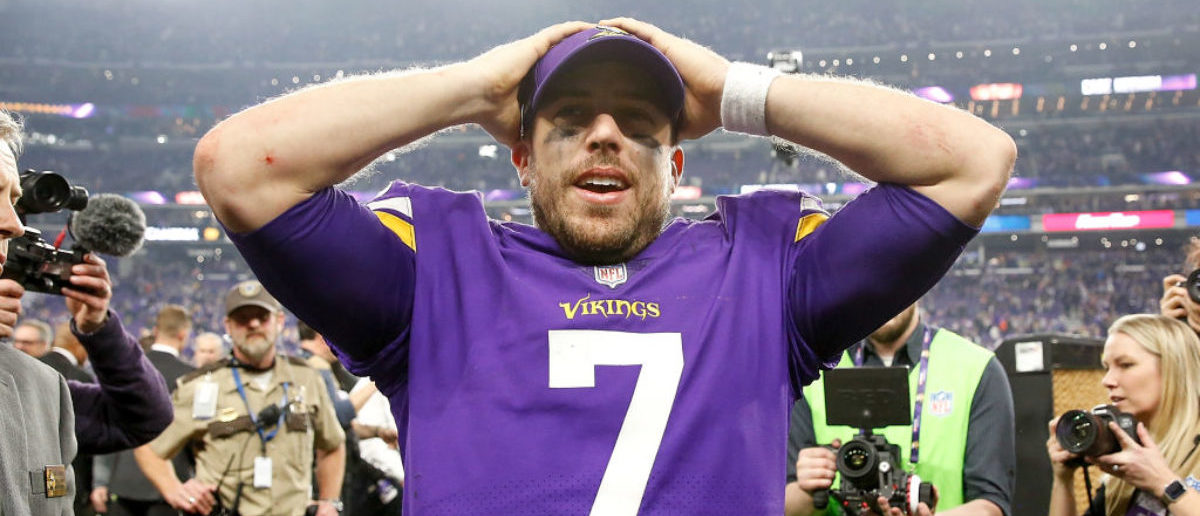 MINNEAPOLIS, MN - JANUARY 14: Case Keenum #7 of the Minnesota Vikings celebrates after defeating the New Orleans Saints in the NFC Divisional Playoff game at U.S. Bank Stadium on January 14, 2018 in Minneapolis, Minnesota. (Photo by Jamie Squire/Getty Images)