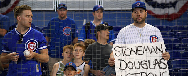 MIAMI, FL - MARCH 29: Fans of the Chicago Cubs show support for Stoneman Douglas Strong during Opening Day against the at Marlins Park on March 29, 2018 in Miami, Florida. (Photo by Mark Brown/Getty Images)