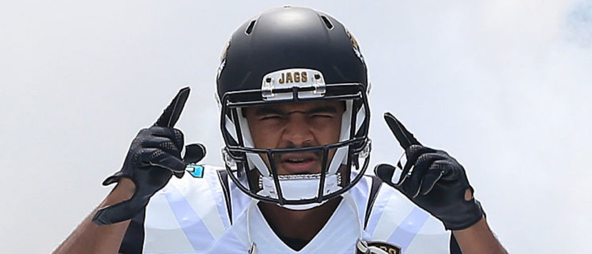 JACKSONVILLE, FL - SEPTEMBER 13: Clay Harbor #86 of the Jacksonville Jaguars enters the stadium before the game against the Carolina Panthers at EverBank Field on September 13, 2015 in Jacksonville, Florida. (Photo by Sam Greenwood/Getty Images)