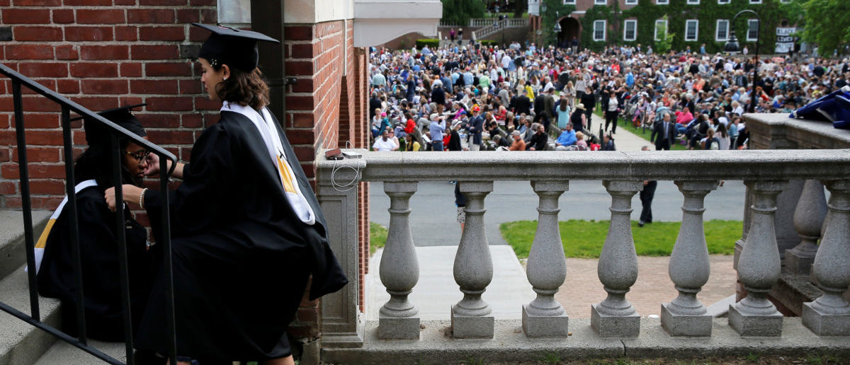Students prepare for Commencement ceremonies at Smith College in Northampton, Massachusetts, U.S., May 21, 2017. REUTERS/Brian Snyder