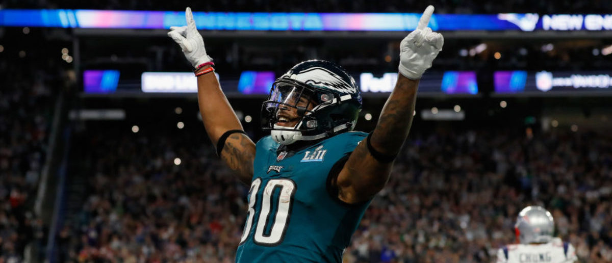 MINNEAPOLIS, MN - FEBRUARY 04: Corey Clement #30 of the Philadelphia Eagles celebrates the play against the New England Patriots during the second quarter in Super Bowl LII at U.S. Bank Stadium on February 4, 2018 in Minneapolis, Minnesota. (Photo by Kevin C. Cox/Getty Images)