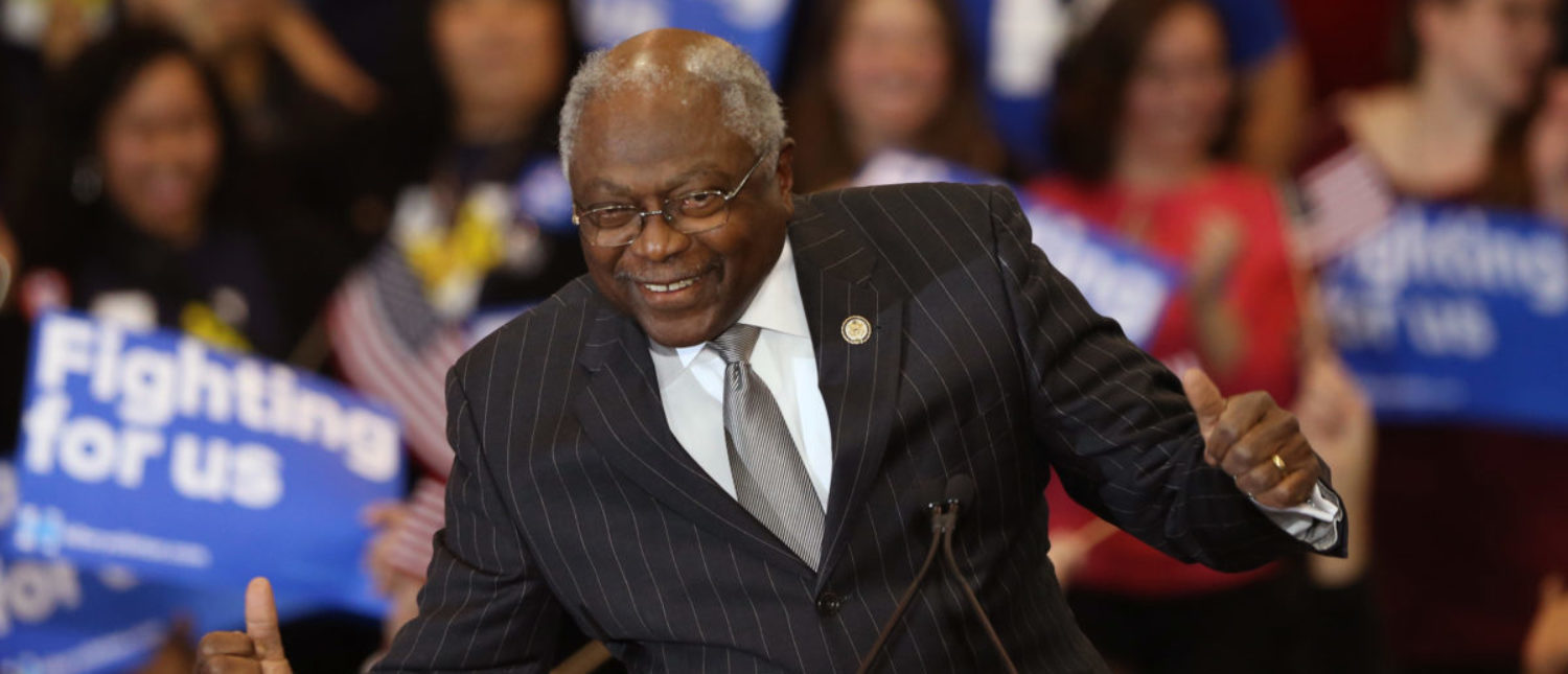 South Carolina U.S. Representative James Clyburn dances to the music as he introduces Democratic U.S. presidential candidate Hillary Clinton to celebrate her win in the South Carolina Democratic primary at a primary night party in Columbia, South Carolina, February 27, 2016. REUTERS/Randall Hill