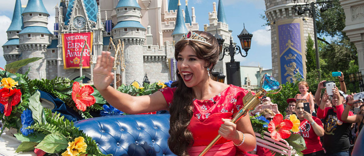 "LAKE BUENA VISTA, FL - AUGUST 11: In this handout photo provided by Disney Parks, Princess Elena of Avalor, the first Latin-inspired Disney princess, receives a royal welcome during her arrival at Magic Kingdom Park on August 11, 2016 in Lake Buena Vista, Florida. Princess Elena's arrival at Walt Disney World follows the debut of the new Disney Channel animated series, ""Elena of Avalor."" The adventurous princess appears daily in ""The Royal Welcome of Princess Elena"" stage show at Magic Kingdom. (Matt Stroshane, photographer)"