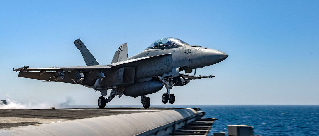 180319-N-GP724-1090 ARABIAN GULF (March 19, 2018) An F/A-18F Super Hornet, assigned to the Mighty Shrikes of Strike Fighter Attack Squadron (VFA) 94, launches from the flight deck of the aircraft carrier USS Theodore Roosevelt (CVN 71). Theodore Roosevelt and its carrier strike group are deployed to the U.S. 5th Fleet area of operations in support of maritime security operations to reassure allies and partners and preserve the freedom of navigation and the free flow of commerce in the region. (U.S. Navy photo by Mass Communication Specialist 3rd Class Alex Perlman/Released)