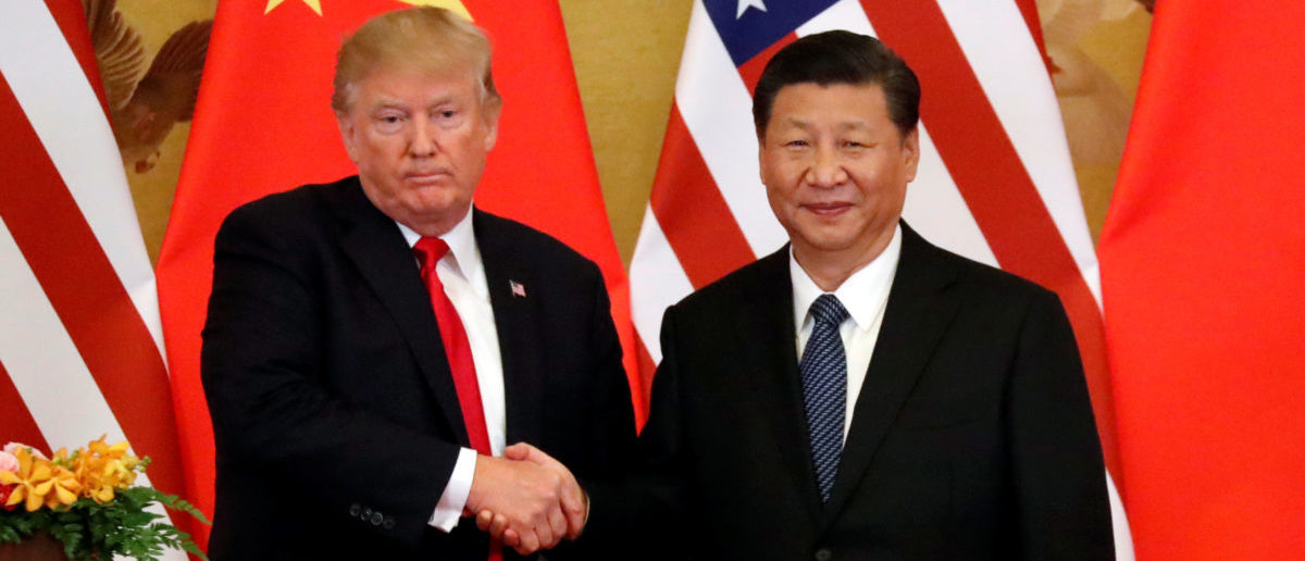 U.S. President Donald Trump and China's President Xi Jinping make joint statements at the Great Hall of the People in Beijing, China, Nov. 9, 2017. REUTERS/Jonathan Ernst