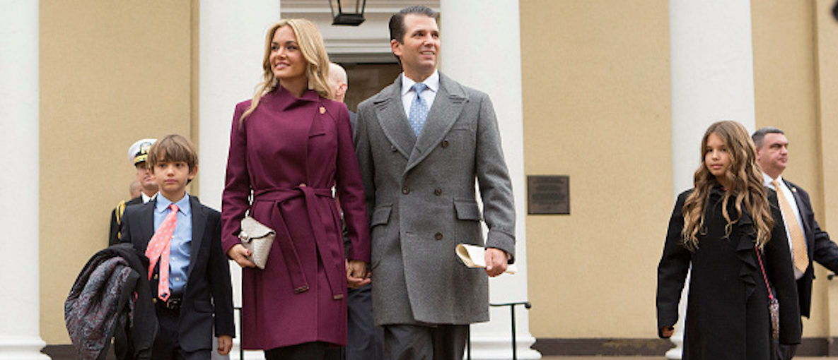 WASHINGTON, DC - JANUARY 20: Donald Trump Jr, with his wife Vanessa and children departs St. John's Church on Inauguration Day on January 20, 2017 in Washington, DC. Donald J. Trump will become the 45th president of the United States today. (Photo by Chris Kleponis - Pool/Getty Images)