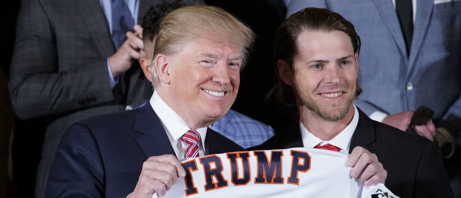 US President Donald Trump poses during an event in honor of 2017 World Series Champion Houston Astros in the East Room of the White House on March 12, 2018 in Washington, DC. / AFP PHOTO / Mandel NGAN        (Photo credit: MANDEL NGAN/AFP/Getty Images)