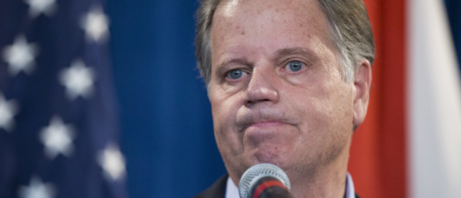BIRMINGHAM, AL - DECEMBER 13: Alabama senator-elect Doug Jones listens to a question during a December 13, 2017 in Birmingham, Alabama. Jones stated that US President Donald Trump called him today to congratulate him on his victory. (Photo by Mark Wallheiser/Getty Images)