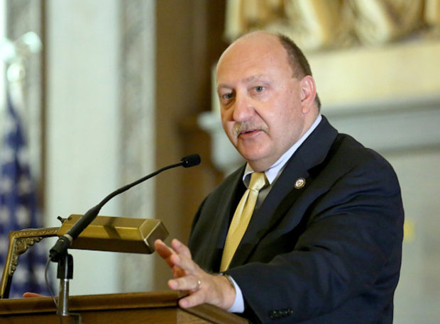 ALLENTOWN, PA - NOVEMBER 22: Ed Pawlowski, Mayor of Allentown, PA. speaks at the Lehigh Valley Conference Of Churches #RefugeesWelcome Thanksgiving In Allentown, PA on November 22, 2015 in Allentown, Pennsylvania. (Photo by Paul Zimmerman/Getty Images for MoveOn.org)