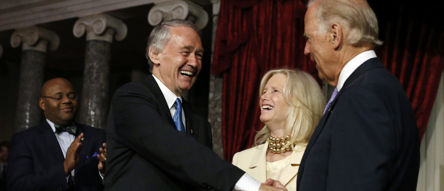 U.S. Vice President Joe Biden (R) reads the oath of office to Senator Ed Markey (D-MA) during a ceremonial swearing-in at the Capitol in Washington July 16, 2013. Holding the Bible is Markey's wife Dr. Susan Blumenthal. At left is former Massachusetts Senator Mo Cowan whom Markey replaced. REUTERS/Kevin Lamarque
