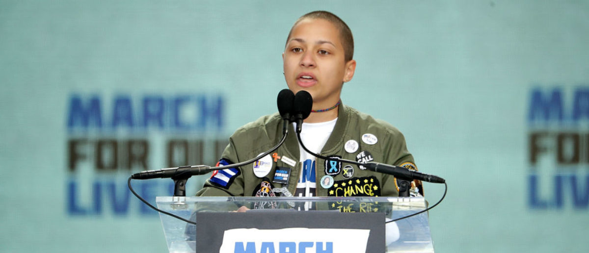 WASHINGTON, DC - MARCH 24: Tears roll down the face of Marjory Stoneman Douglas High School student Emma Gonzalez addresses the March for Our Lives rally on March 24, 2018 in Washington, DC. Hundreds of thousands of demonstrators, including students, teachers and parents gathered in Washington for the anti-gun violence rally organized by survivors of the Marjory Stoneman Douglas High School shooting on February 14 that left 17 dead. More than 800 related events are taking place around the world to call for legislative action to address school safety and gun violence. (Photo by Chip Somodevilla/Getty Images)