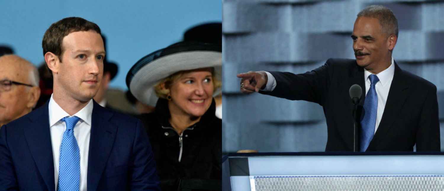 Left: Mark Zuckerberg (Photo by Paul Marotta/Getty Images) Right: Eric Holder (Photo by Alex Wong/Getty Images)
