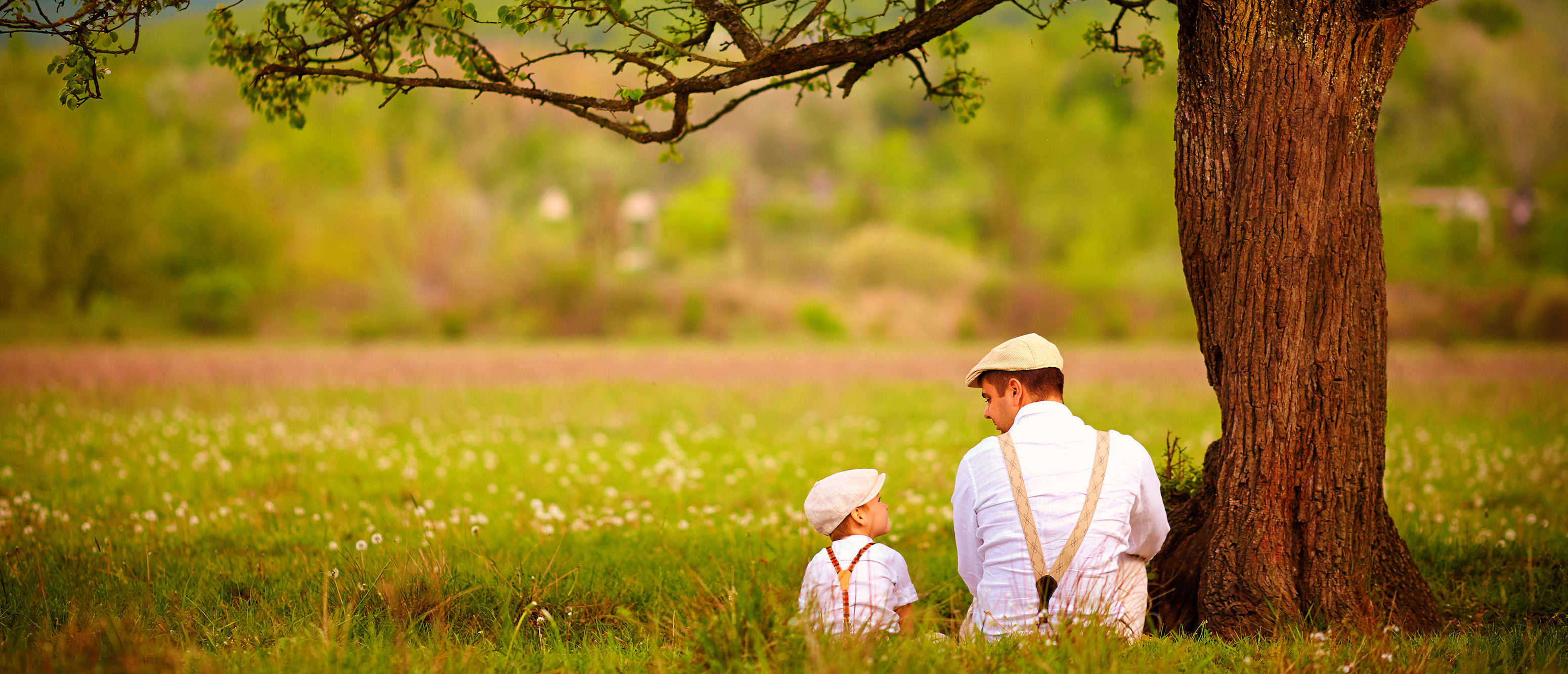 Father and son sitting under the tree on spring lawn/Shutterstock