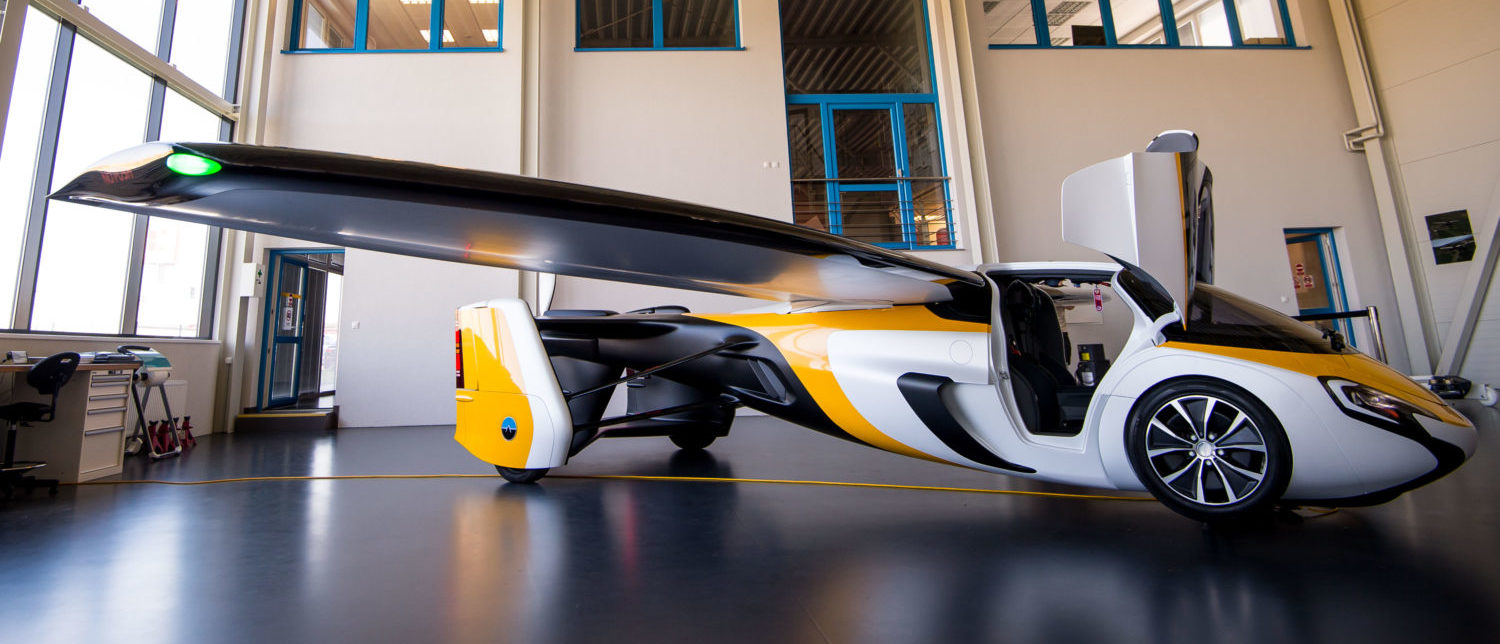 A flying car AeroMobil is on display during a media presentation in the headquarters of AeroMobil company in Bratislava on May 19, 2017. In Slovakia, the AeroMobil company says it has received dozens of orders from customers for a flying car expected to hit the market in 2020. (Photo: VLADIMIR SIMICEK/AFP/Getty Images)