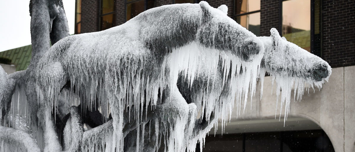 Women take pictures of a statue of horses that is frozen over in the city centre of Dublin