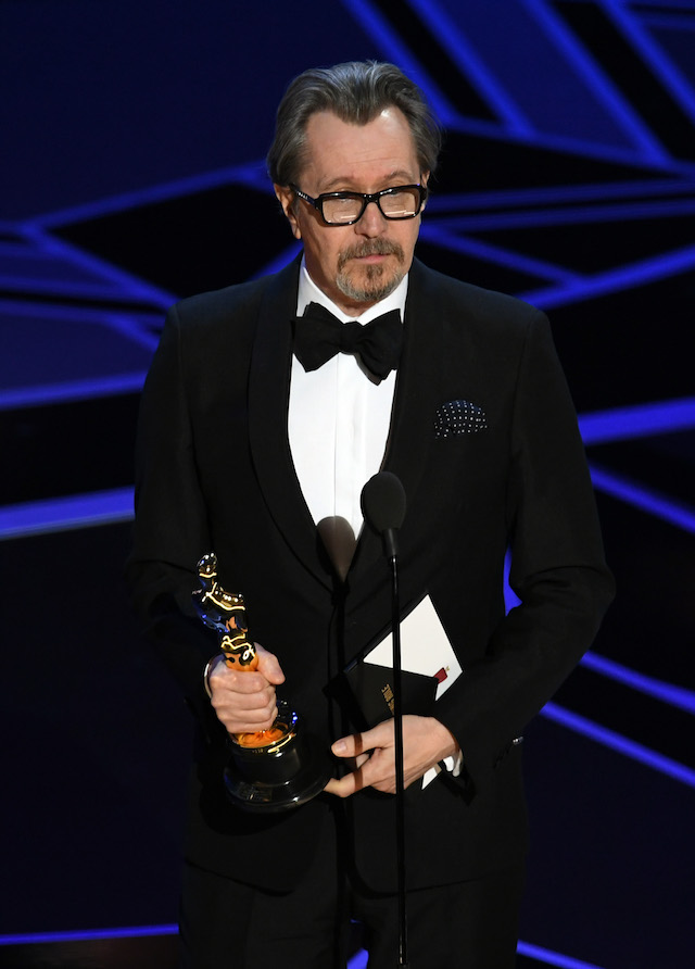 HOLLYWOOD, CA - MARCH 04: Actor Gary Oldman accepts Best Actor for 'Darkest Hour' onstage during the 90th Annual Academy Awards at the Dolby Theatre at Hollywood & Highland Center on March 4, 2018 in Hollywood, California. (Photo by Kevin Winter/Getty Images)