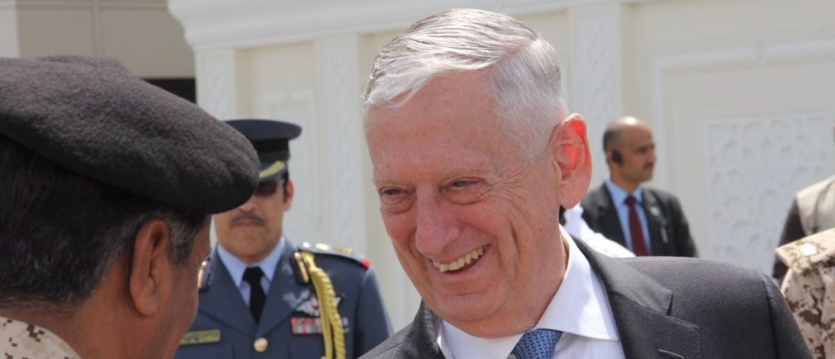 US Defence Secretary Jim Mattis shakes hands with military officials as he departs from Bahrain at Manama airport on March 15, 2018. Mattis was in Bahrain after a surprise visit to the war-torn capital of Afghanistan two weeks after Afghan President Ashraf Ghani unveiled a plan to open peace talks with the Taliban.  / AFP PHOTO / Thomas WATKINS        (Photo credit should read THOMAS WATKINS/AFP/Getty Images)