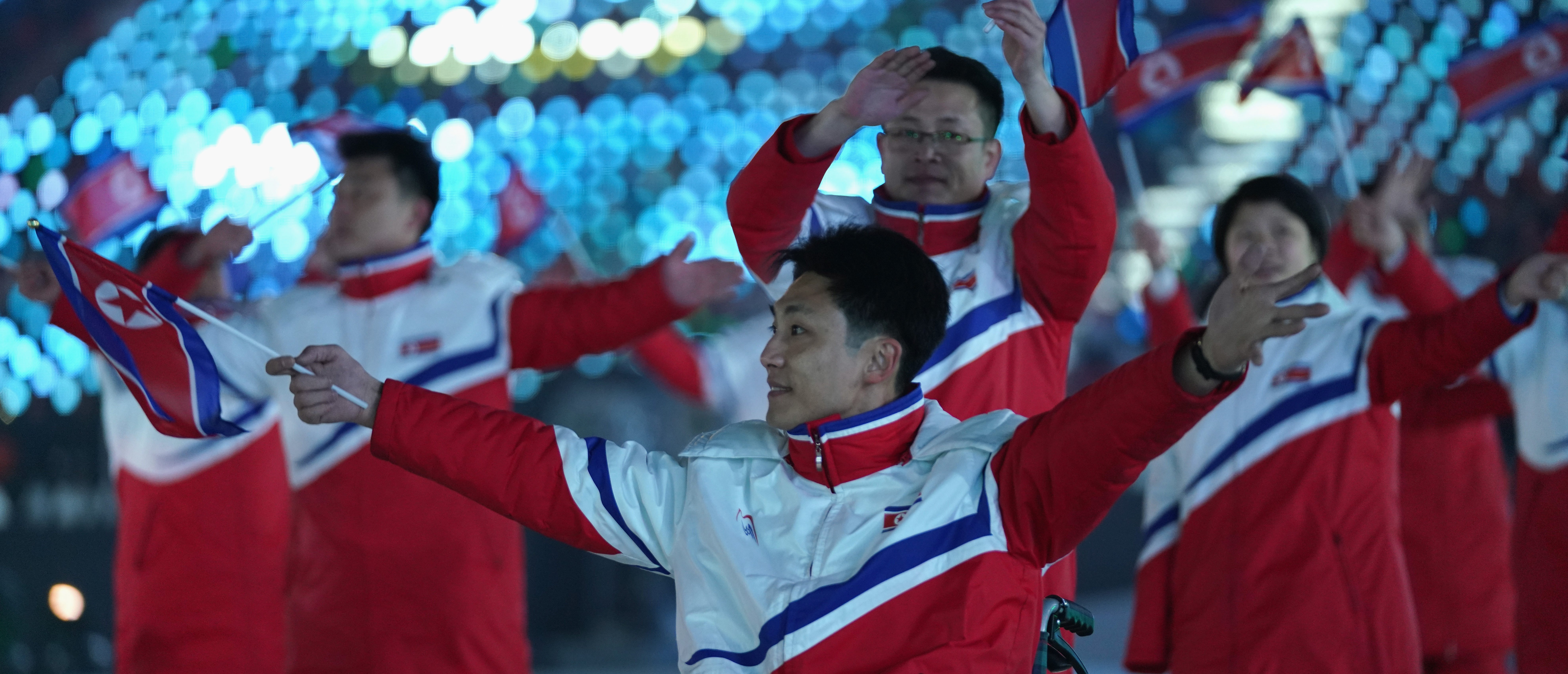 Members of North Korea enter the stadium during the opening ceremony of the PyeongChang 2018 Paralympic Games at the PyeongChang Olympic Stadium on March 9, 2018 in Pyeongchang-gun, South Korea. (Photo by Lintao Zhang/Getty Images)