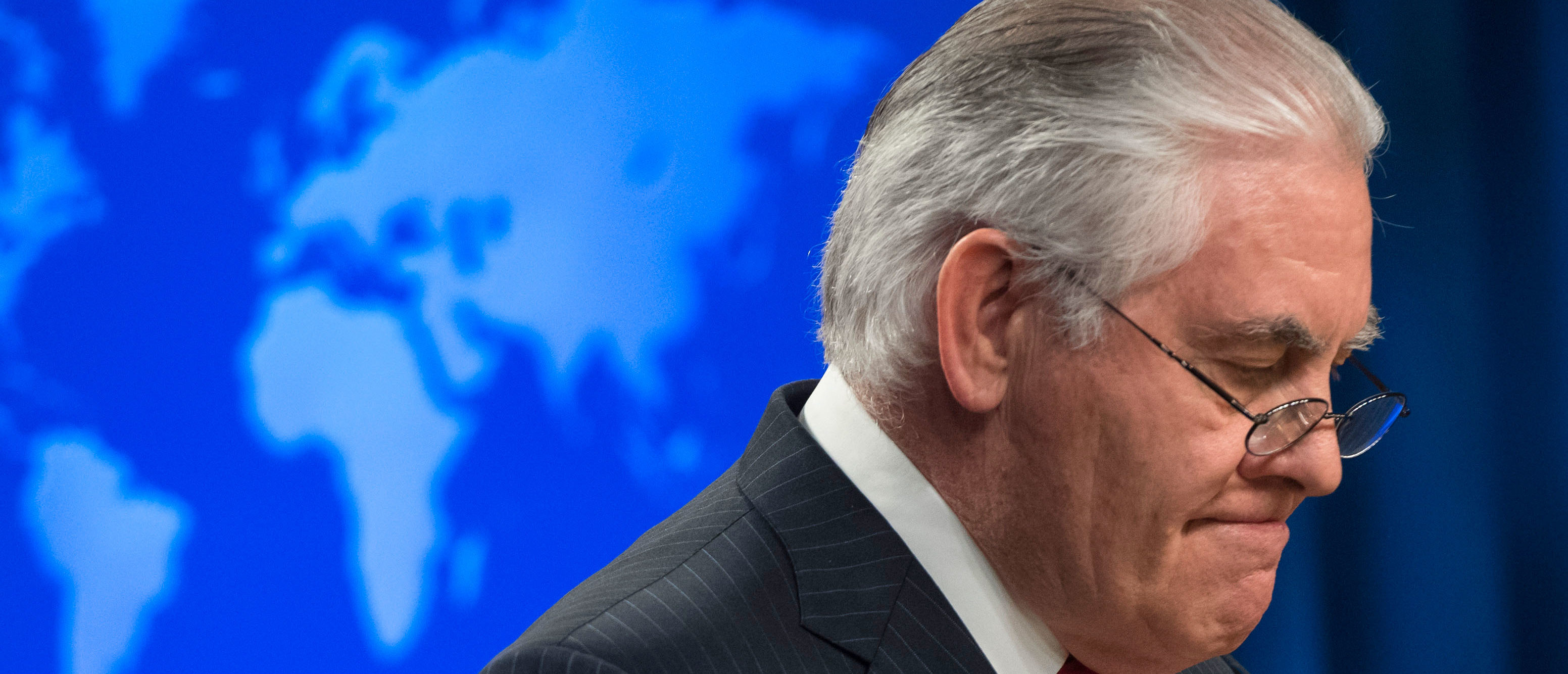 Rex Tillerson, outgoing US Secretary of State makes a statement after his dismissal at the State Department in Washington, DC, March 13, 2018.  Secretary of State Rex Tillerson is the latest top official to leave a US administration where turnover has been inordinately high. / AFP PHOTO / SAUL LOEB        (Photo credit should read SAUL LOEB/AFP/Getty Images)