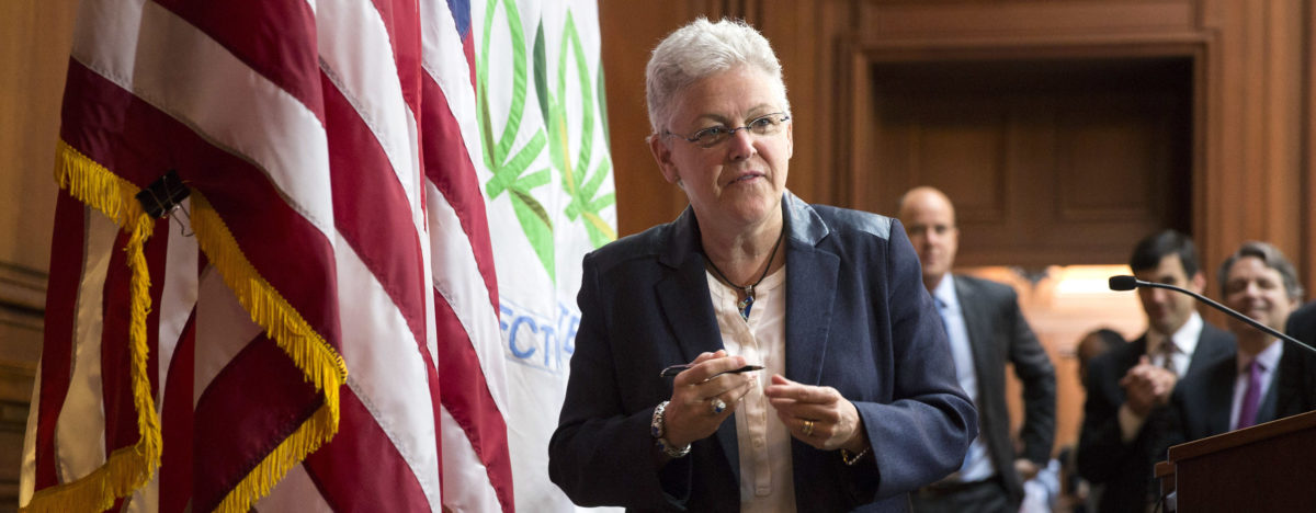 Environmental Protection Agency (EPA) Administrator Gina McCarthy arrives to sign a proposal under the Clean Air Act to cut carbon pollution from existing power plants during a news conference in Washington June 2, 2014. The U.S. power sector must cut carbon dioxide emissions 30 percent by 2030 from 2005 levels, according to federal regulations unveiled on Monday that form the centerpiece of the Obama administration's climate change strategy. REUTERS/Joshua Roberts