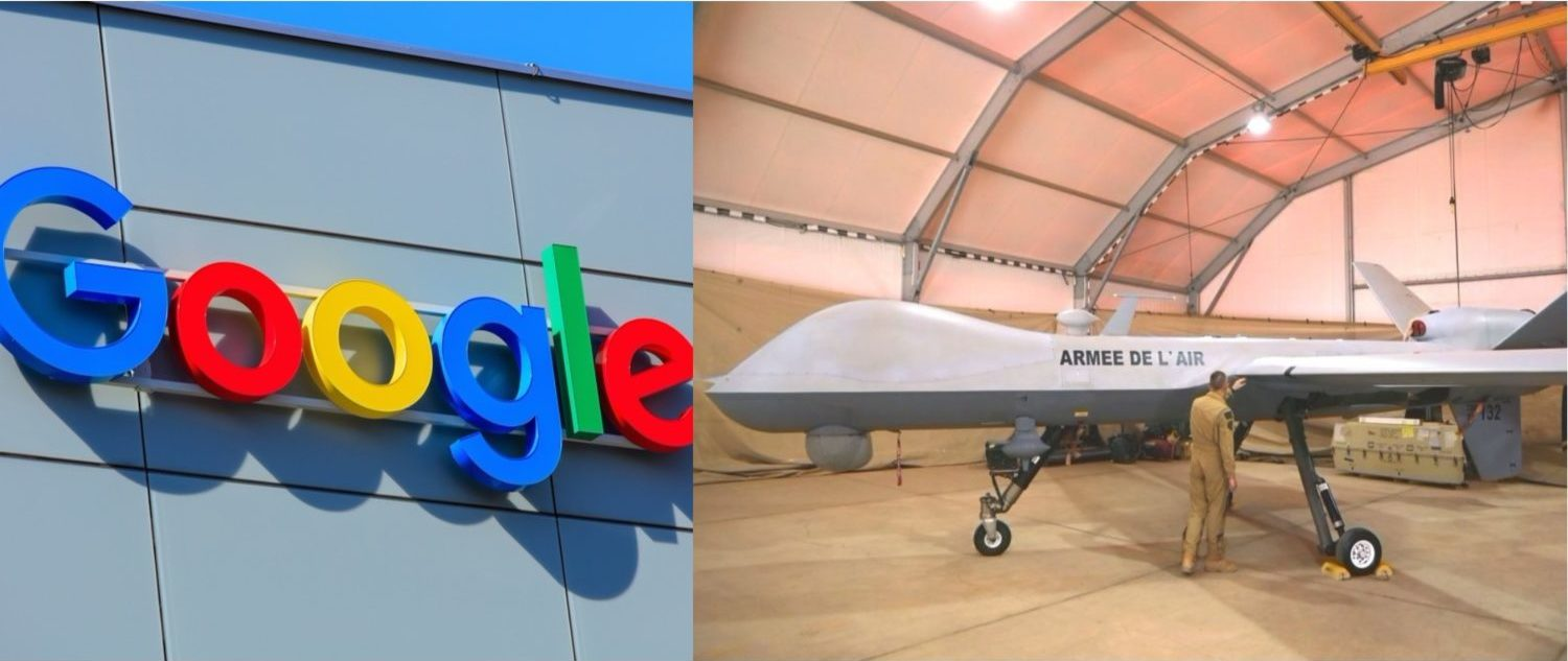 Left: Google logo at one of the company headquarters.  [Shutterstock - Denis Linine] Right: A Reaper drone aircraft before a flight. (Photo: LUDOVIC MARIN/AFP/Getty Images)