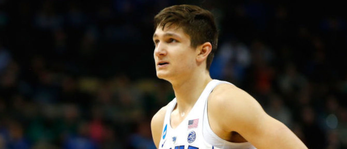 PITTSBURGH, PA - MARCH 17: Grayson Allen #3 of the Duke Blue Devils looks on against the Rhode Island Rams during the second half in the second round of the 2018 NCAA Men's Basketball Tournament at PPG PAINTS Arena on March 17, 2018 in Pittsburgh, Pennsylvania. (Photo by Justin K. Aller/Getty Images)