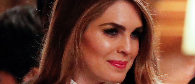 White House Communications Director Hope Hicks attends an official dinner thrown by Japan's Prime Minister Shinzo Abe in honor of U.S. President Donald Trump at Akasaka Palace in Tokyo, Japan November 6, 2017. Picture taken November 6, 2017. REUTERS/Jonathan Ernst