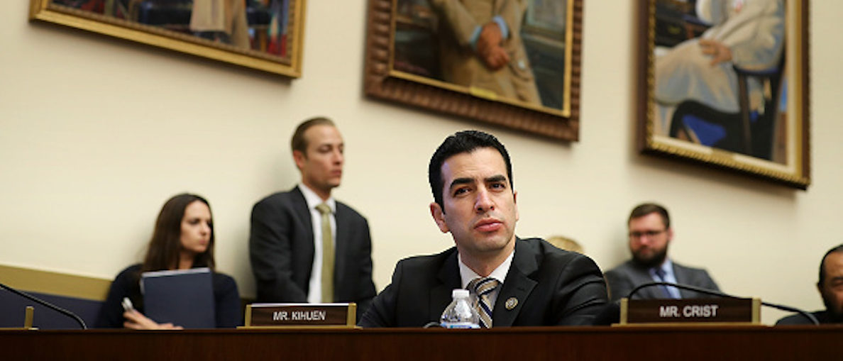 WASHINGTON, DC - FEBRUARY 06: House Financial Services Committee member Rep. Ruben Kihuen (D-NV) (C) listens to testimony from Treasury Secretary Steven Mnuchin in the Rayburn House Office Building on Capitol Hill February 6, 2018 in Washington, DC. After two days of historic losses in the stock markets, Mnuchin said, 'I'm not concerned about market volatility. The fundamentals are quite strong.' (Photo by Chip Somodevilla/Getty Images)