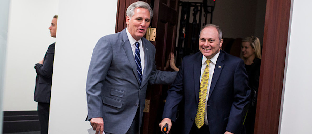 WASHINGTON, DC - NOVEMBER 29: House Majority Leader Kevin McCarthy (R-CA), and House Majority Whip Steve Scalise (R-LA) walk to a press conference on Capitol Hill, November 29, 2017 in Washington, DC. (Photo by Zach Gibson/Getty Images)