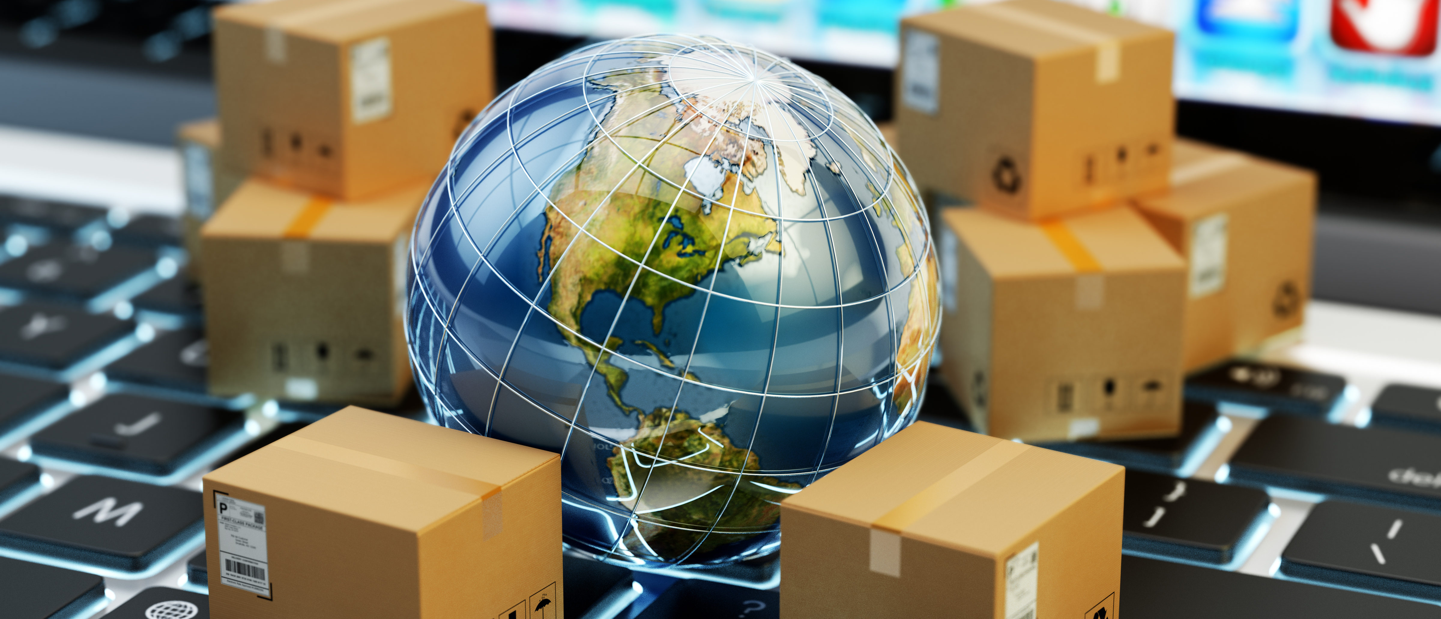Internet shopping, online purchases, e-commerce, package delivery concept, global transportation business, stack of cardboard boxes and Earth globe on computer, 3d illustration - Elements by NASA. (Shutterstock)