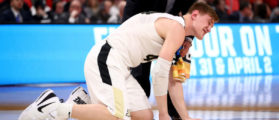 DETROIT, MI - MARCH 16: Isaac Haas #44 of the Purdue Boilermakers reacts after falling to the court on a foul by Cal State Fullerton Titans during the second half of the game in the first round of the 2018 NCAA Men's Basketball Tournament at Little Caesars Arena on March 16, 2018 in Detroit, Michigan. (Photo by Gregory Shamus/Getty Images)