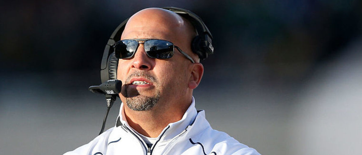 EAST LANSING, MI - NOVEMBER 28: Head coach James Franklin of the Penn State Nittany Lions looks on against the Michigan State Spartans in the first half of the game at Spartan Stadium on November 28, 2015 in East Lansing, Michigan. (Photo by Joe Robbins/Getty Images)