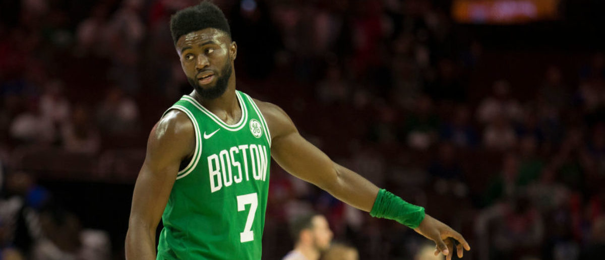 PHILADELPHIA, PA - OCTOBER 20: Jaylen Brown #7 of the Boston Celtics looks on against the Philadelphia 76ers at the Wells Fargo Center on October 20, 2017 in Philadelphia, Pennsylvania. (Photo by Mitchell Leff/Getty Images)