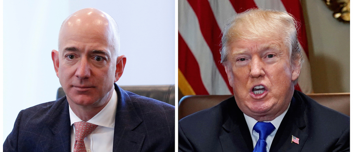 A combination photo shows Amazon CEO Jeff Bezos (L) in New York and U.S. President Donald Trump at the White House in Washington, DC, U.S. on December 14, 2016 and on December 20, 2017 respectively. REUTERS/Shannon Stapleton (L) Jonathan Ernst (R) | Oracle Lobbies Trump Against Amazon
