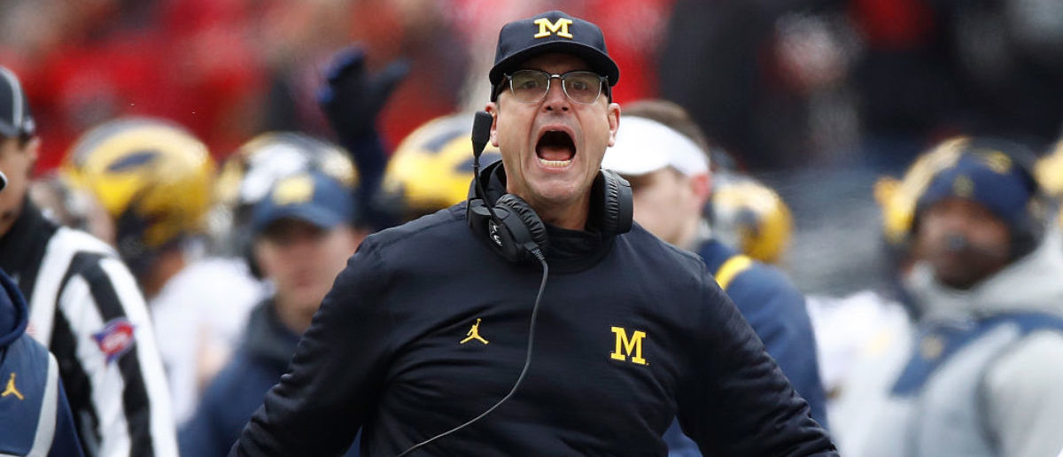 Head coach Jim Harbaugh of the Michigan Wolverines argues a call on the sideline during the first half against the Ohio State Buckeyes at Ohio Stadium on November 26, 2016 in Columbus, Ohio. (Photo by Gregory Shamus/Getty Images)
