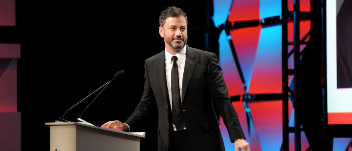 BEVERLY HILLS, CA - SEPTEMBER 23: Host Jimmy Kimmel speaks onstage at Los Angeles LGBT Center's 48th Anniversary Gala Vanguard Awards at The Beverly Hilton Hotel on September 23, 2017 in Beverly Hills, California. (Photo by Joshua Blanchard/Getty Images)