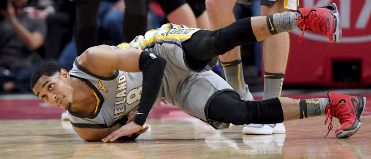 LOS ANGELES, CA - MARCH 09: Jordan Clarkson #8 of the Cleveland Cavaliers falls to the ground as after his three pointer during a 116-102 loss to the LA Clippers at Staples Center on March 9, 2018 in Los Angeles, California. (Photo by Harry How/Getty Images)