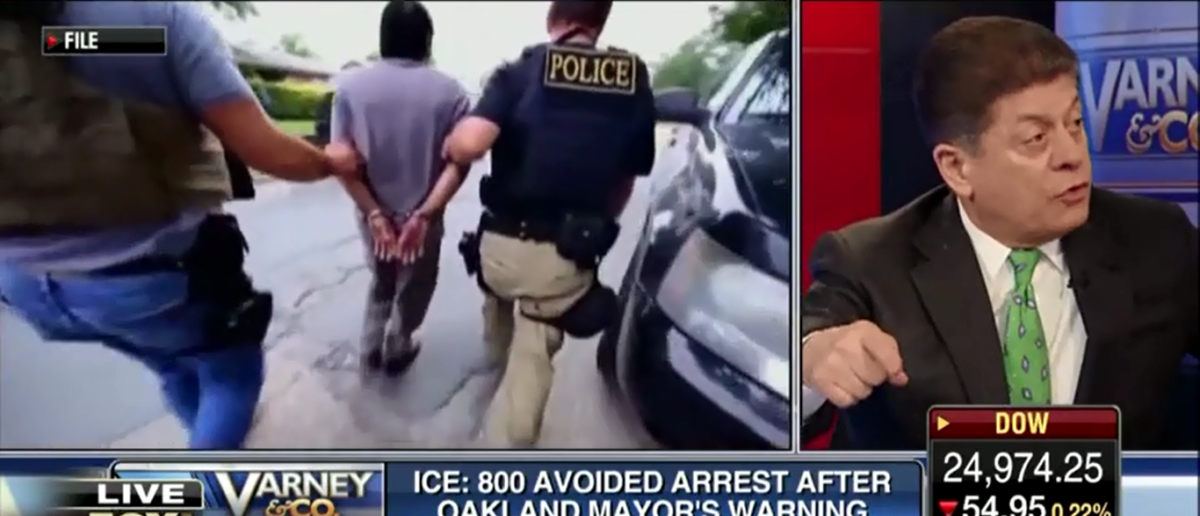Judge Napolitano Calls Oakland Mayor 'Reckless And Irresponsible' For Tipping Off Illegals To ICE Raid - Varney & Co 3-1-18 (Screenshot/Fox Business)