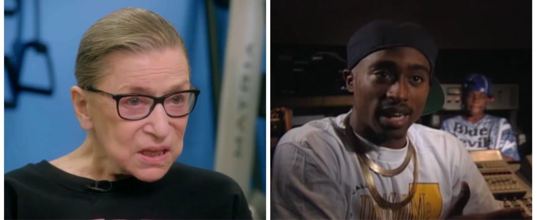 L: Justice Ruth Bader Ginsburg. R: Rapper Tupac Shakur in 1992. (YouTube screenshots)