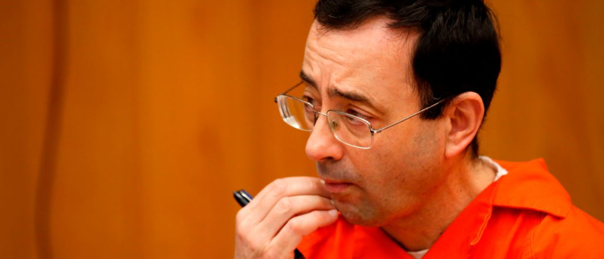Former Michigan State University and USA Gymnastics doctor Larry Nassar listens during the sentencing phase in Eaton, County Circuit Court on January 31, 2018 in Charlotte, Michigan. (Photo: JEFF KOWALSKY/AFP/Getty Images)